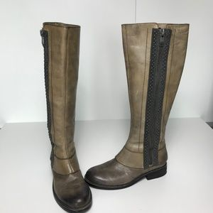 Vince Camuto Grey Leather Riding Boots Size 6